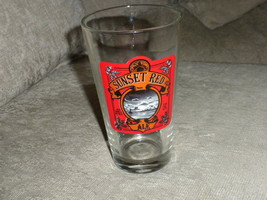 """unused Sunset Red Ale Glass Mug 5 3/4"""" tall x 3"""" wide w scenic bold red ... - $7.99"""