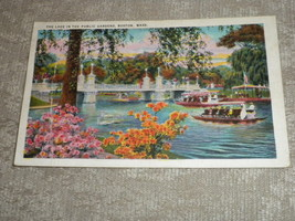 Boston, Mass The Lake in the Public Gardens w boat c1943 postmarked w st... - $1.99