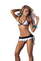 Mapal by Espiral Women's Sexy Bra Top Pleated Mini Skirt and Rio Thong, Whit... - $21.78
