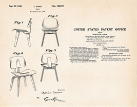 1947 Eames Modern Chair Patent Retro Gifts For Interior Designers Patent... - $9.50+