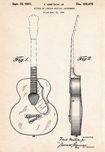 1941 Gretsch  Patent Art Print Gifts For Guitar Lovers Drawing Posters D... - $9.40