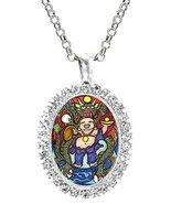 Lucky Dragon Buddha Cz Crystal Silver Necklace Pendant - $19.95