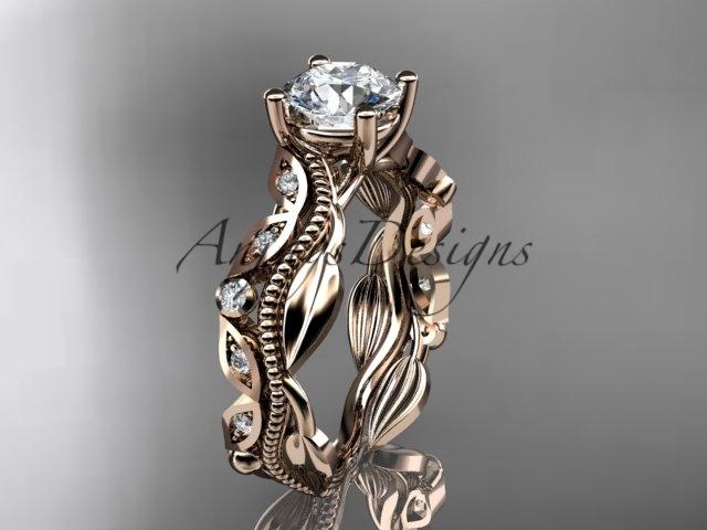 Ing342 rose gold  diamond wedding ring  diamond engagement ring  forever brilliant moissanite  1