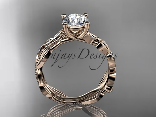 14kt rose gold diamond engagement ring with a Moissanite center stone ADLR342