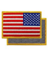 American Flag Embroidered Velcro Patch Reverse Gold Border USA Tactical ... - $3.99