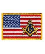 Masonic American Flag Patch Embroidered Iron-On Freemason Square Compass... - $4.99