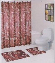 "15 pc. Bath Mat Set / Fabric Shower Curtain / Fabric Covered Hooks - ""MO... - $29.65"