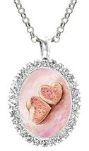 Pink Heart Sugar Cookies Cz Crystal Silver Necklace Pendant - $19.95