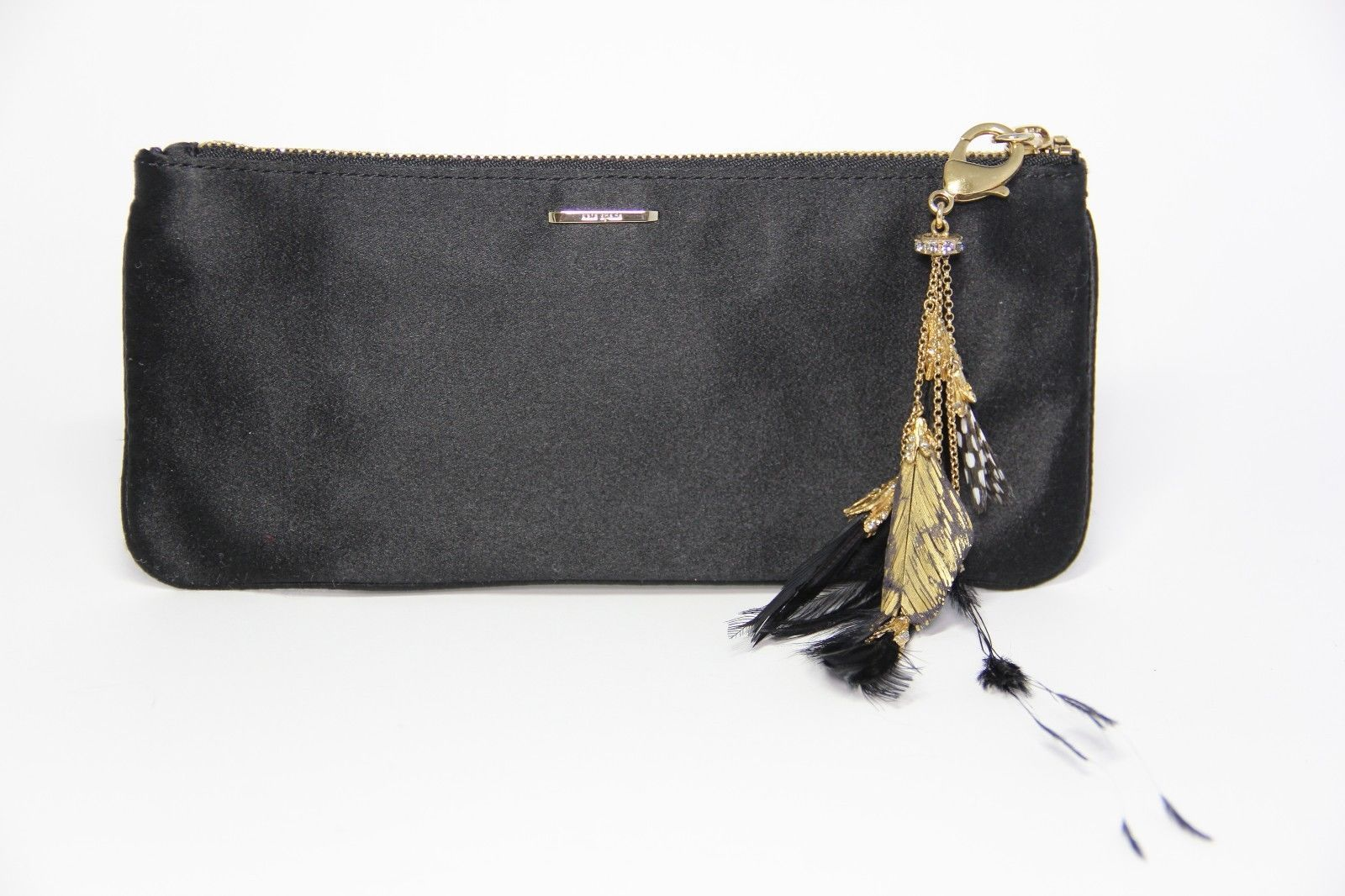 kate spade Small Evening Handbag, Black Satin Feathers & Crystals Purse Charm - $193.05
