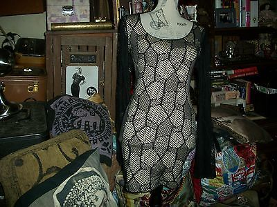 SYMPHONY Sexy Midnight Black Over Cream Net Dress Size S