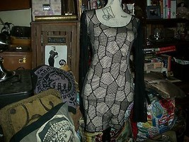 SYMPHONY Sexy Midnight Black Over Cream Net Dress Size S - $14.85