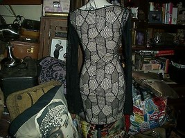 SYMPHONY Sexy Midnight Black Over Cream Net Dress Size S image 5