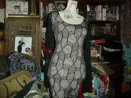 SYMPHONY Sexy Midnight Black Over Cream Net Dress Size S image 2