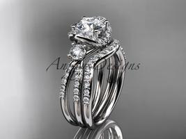 Platinum  diamond unique engagement set, wedding ring ADER146S - $3,520.00