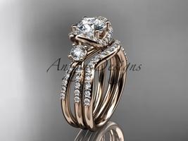 14kt rose gold diamond unique engagement set, wedding ring ADER146S - $2,545.00