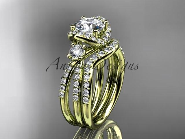 D  diamond wedding ring  diamond engagement ring  forever brilliant moissanite  matching band  1