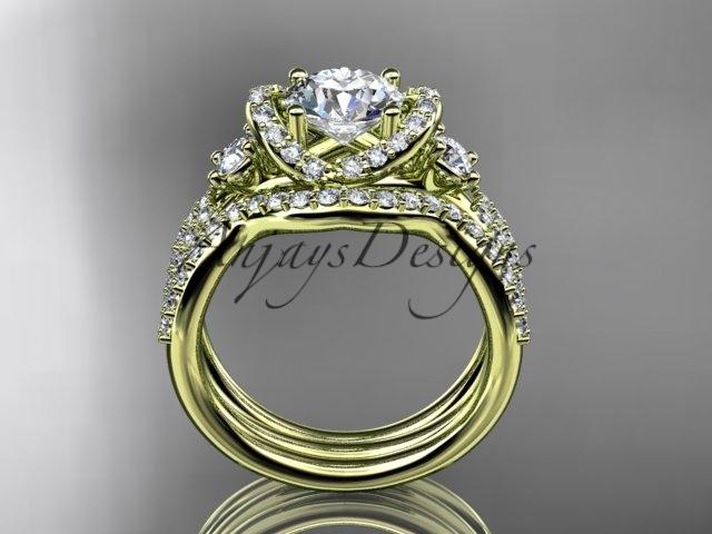 14kt yellow  gold diamond unique engagement set, wedding ring ADER146S