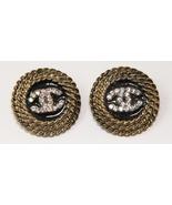Intertwined C Rhinestone black enamel roped edge clip earrings - $16.95