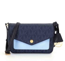MICHAEL KORS GREENWICH Small Flap CROSSBODY Saffiano Baltic Blue LT Sky ... - $126.21