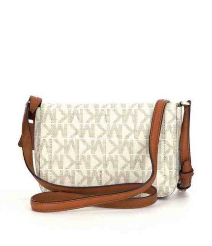 ce3461dc55c6b4 MICHAEL KORS GREENWICH Small Flap CROSSBODY Saffiano Vanilla / Acorn $198  NWT