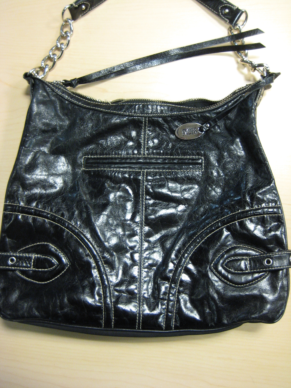 09ef93347d Franco Sarto Black Glazed Leather Shoulder Bag Purse Top Zipper -  20.00