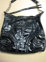 Franco Sarto Black Glazed Leather Shoulder Bag Purse Top Zipper - $20.00