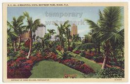 MIAMI FL BEAUTIFUL VISTA BAYFRONT PARK c1940s-50s vintage linen postcard... - $3.22