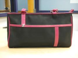 Franco Sarto Black/Mauve Leather Satchel Purse Top Zipper.   - $20.00