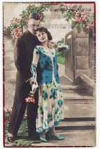 ALL MY HAPPINESS LOVE ~EARLY ROMANTIC PHOTO POSTCARD~YOUNG COUPLE~ GERMA... - $5.47