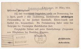 CHICAGO IL- GERMAN-AMERICAN COMMUNITY MEETING INVITATION -1914 prepaid p... - $27.55
