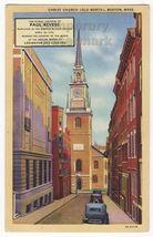 Boston Ma   Old North Christ Church ~ Paul Revere Display ~ 1940s Old Postcard - $2.76