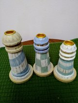 Trio Delightful Lighthouse Wood Candle Stick Holders MIDWEST of Cannon Falls image 2