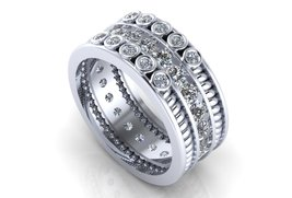 Silver Wedding Ring with Premium Created Diamon... - $299.00
