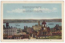 HALIFAX NS Canada City View-Town Clock & Harbour- 1940s PECO vintage pos... - $3.40