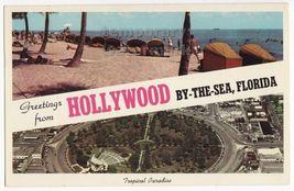 HOLLYWOOD BY THE SEA FLORIDA - GREETINGS 1960s old postcard-BEACH CABANA... - $3.63