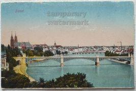 SWITZERLAND BASEL BIRDS EYE CITY VIEW~ WETTSTEINBRUCKE ~ 1930s vintage p... - $4.55