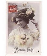 BEAUTIFUL EDWARDIAN WOMAN-NICE HAIR STYLE-FLOWE... - $6.35