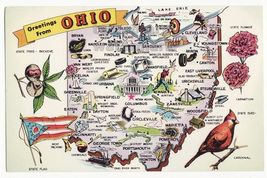 GREETINGS from OHIO PICTORIAL STATE MAP~ Flag~Symbols - illustrated old ... - $3.45