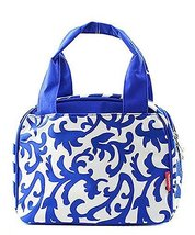 Damask Print Insulated Small Lunch Tote Bag Royal Blue - $19.99