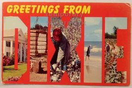 Greetings From Dixie  Ca 1960s Large Letter Multiview Vintage Postcard - $2.71