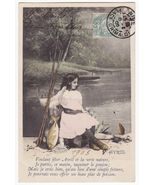 YOUNG GIRL FISHING AT THE RIVER, 1900s APRIL FOOLS DAY vintage postcard~CHILDREN - $5.47