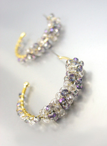 CHIC Urban Anthropologie Smoky Gray AB Czech Crystals Gold Hoop Earrings - $16.99