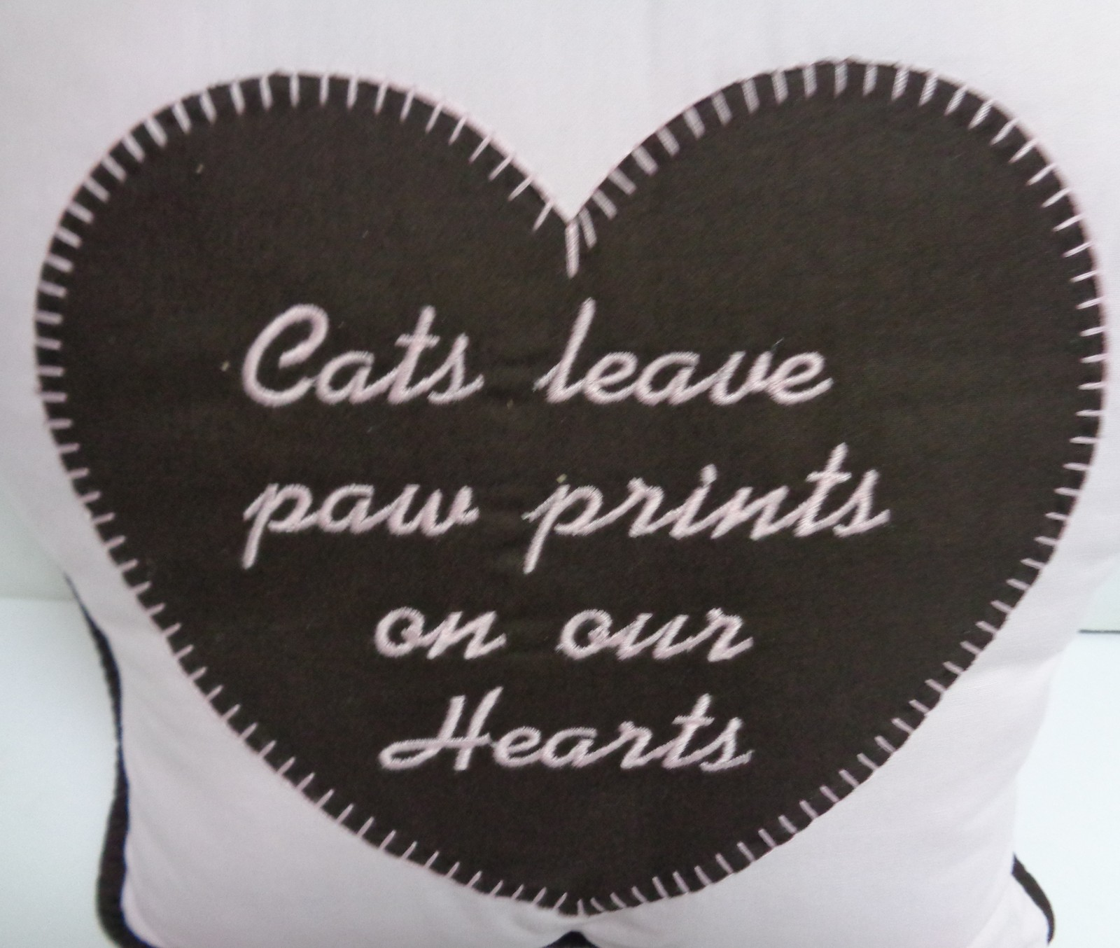"Cat PAW Pillow NWT CATS LEAVE PAW PRINTS ON OUR HEARTS Pink 16"" x 15"""