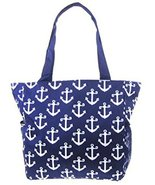 Anchor Print Nautical Canvas Tote Bag Travel Pu... - $19.79