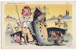 Fisherman & Giant Fish Comic Linen Postcard 1940s Humor Fishing  Curt Teich - $4.55