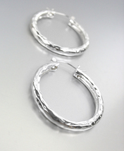 "CLASSIC Silver Hammered Texture Metal 1 1/4"" Diameter Round Hoop Earrings - $12.99"