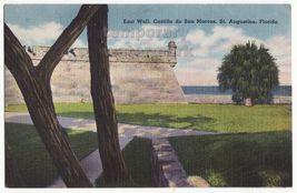 ST AUGUSTIN FL  CASTILLO DE SAN MARKOS EAST WALL ~ 1940s vintage postcard - $3.22
