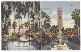 Florida Beauty Spots  Cypress Gardens   Bok Singing Tower 1950s Vintage Postcard - $2.71