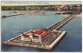 ST PETERSBURG FL ~ RECREATION PIER AERIAL VIEW ~ 1950s vintage postcard~... - $3.22
