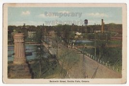 SMITHS FALLS ONTARIO, BECKWITH STREET BIRDS EYE VIEW c1930s vintage post... - $11.04